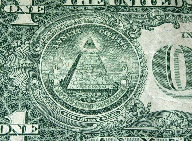 Dollar bill pyramid stock photography