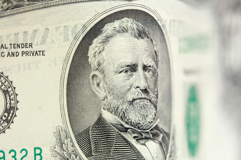 50 dollar bill. Ulysses Grant american president on 50 dollar bill royalty free stock images