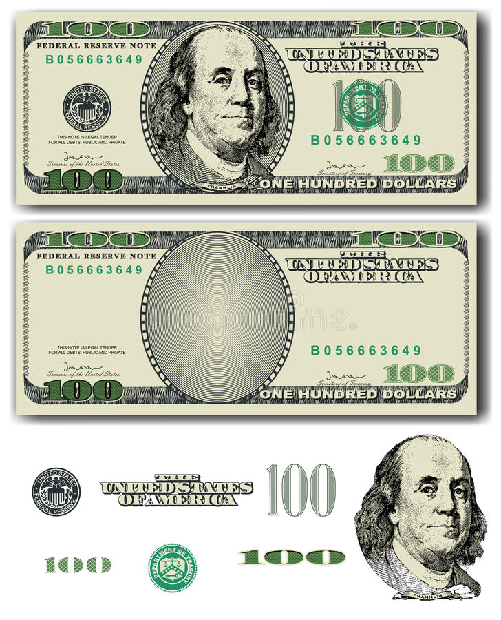 100 dollar bill royalty free illustration
