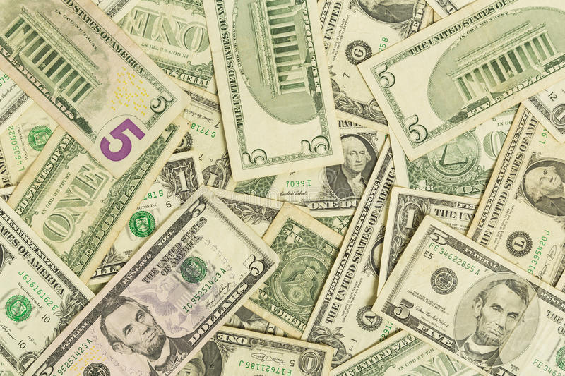 Dollar Bills. A bunch of one and five dollar bills stock photography