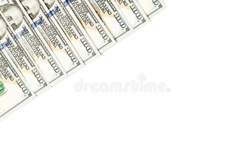 100 dollar bills border isolated on white background.  stock photography