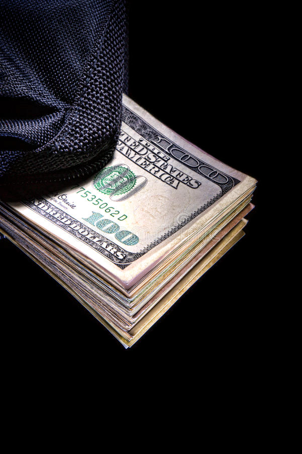 Dollar Bills in Canvas Bag as Corruption Money stock images
