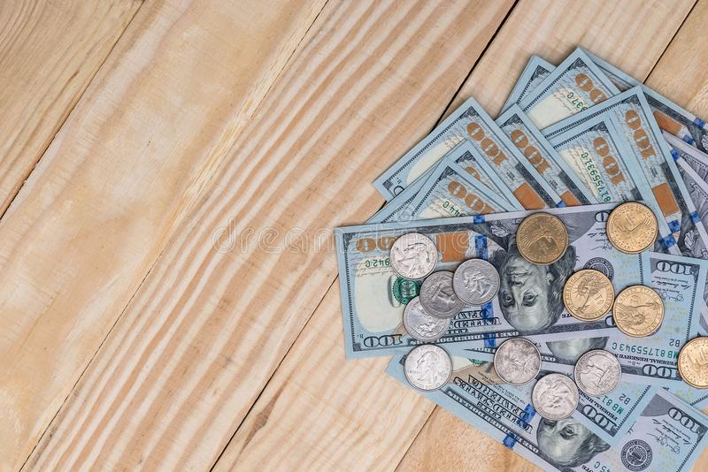 Dollar bills and coin. Close up stock images