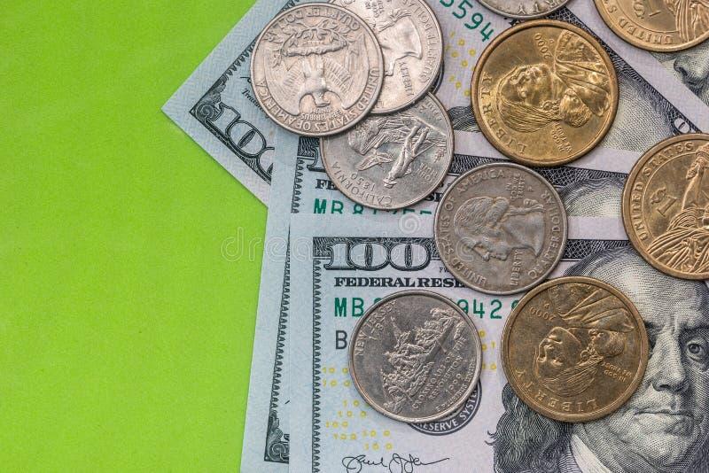 Dollar bills and coin close up. Dollar bills and coin close up stock photo