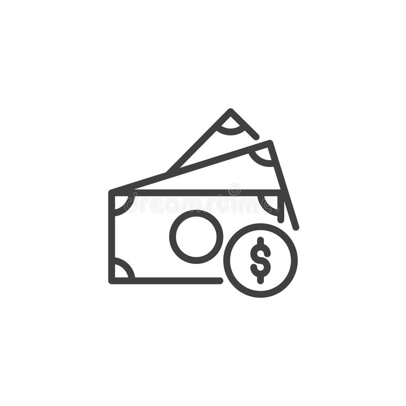 Dollar bills and coin outline icon vector illustration