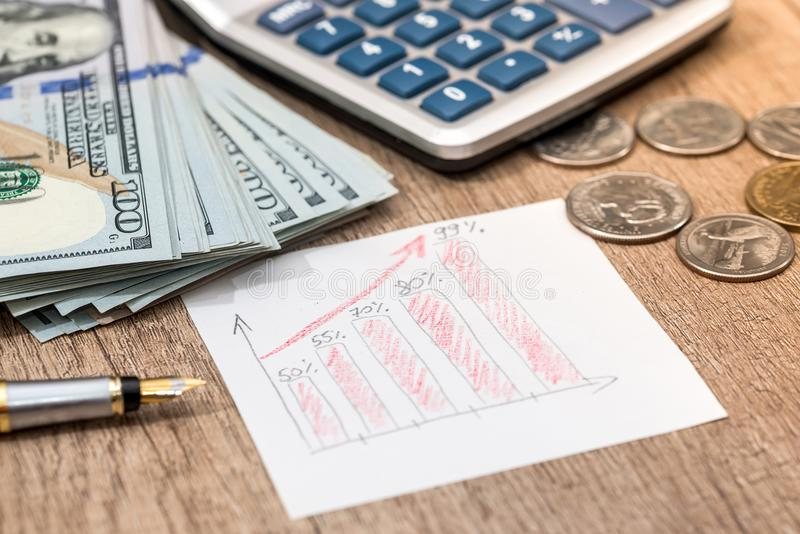 Dollar bills, coin on stock chart, calculator. And pen stock photo