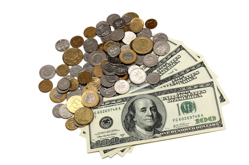 Dollar bills and coins royalty free stock photography