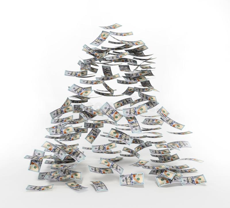 100 dollar bills falling to the ground. 3D illustration.  vector illustration