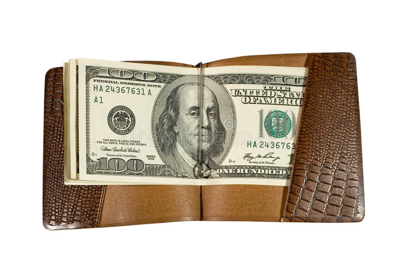 Dollar bills. One-hundred dollar bills in a leather billfold (isolated on white stock photography