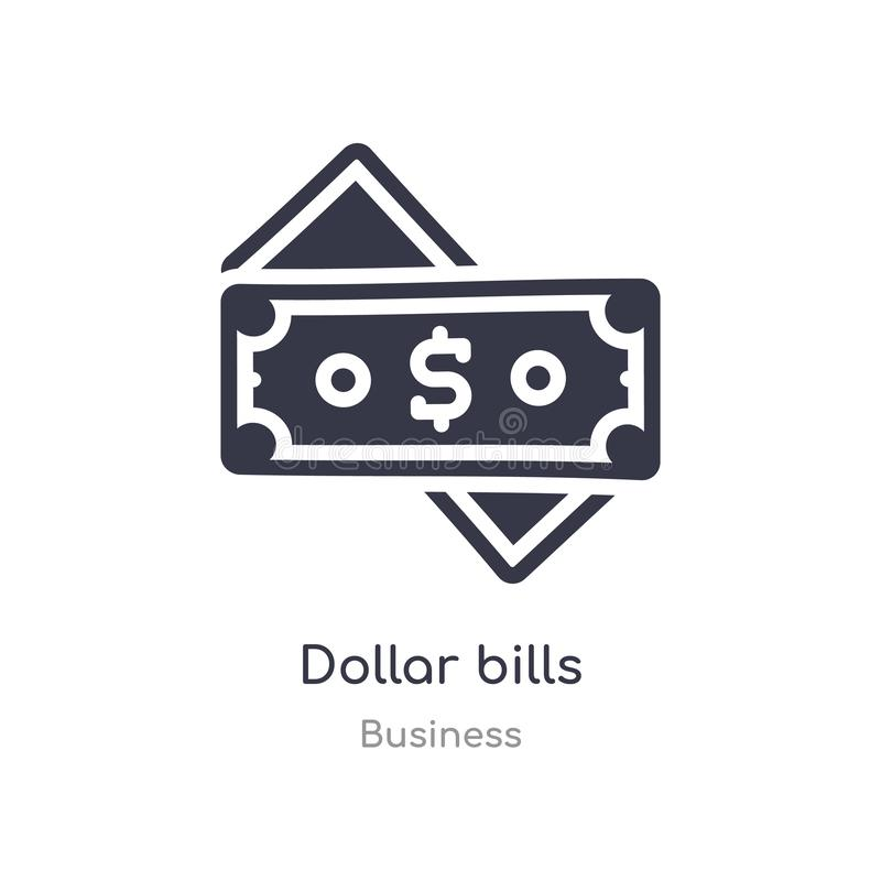 dollar bills outline icon. isolated line vector illustration from business collection. editable thin stroke dollar bills icon on royalty free illustration
