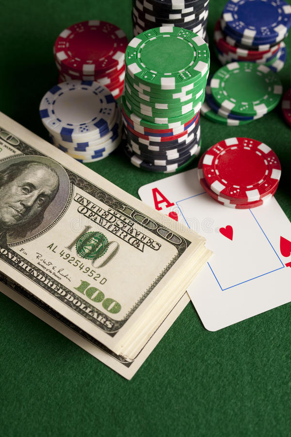 Download Dollar Bills, Playing Cards And Poker Chips Stock Photo   Image Of  Card,