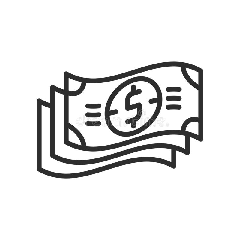 Dollar Bills Stack icon vector sign and symbol isolated on white stock illustration