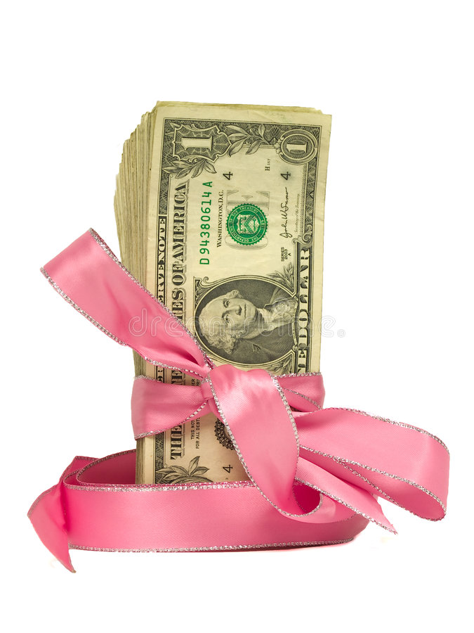 Dollar Bills Tied in a Pink Ribbons royalty free stock photo
