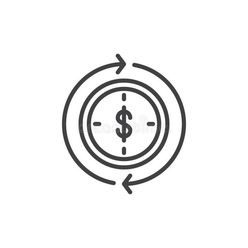 Dollar binnen klok en het omcirkelende pictogram van de pijlenlijn vector illustratie
