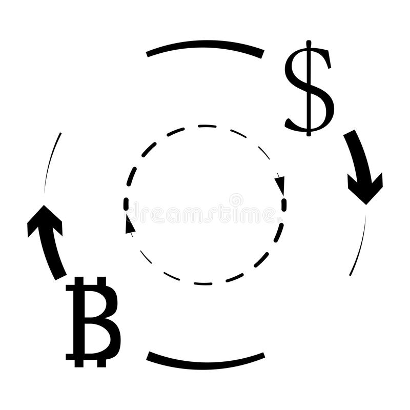 Dollar and bitcoin currency exchange royalty free illustration