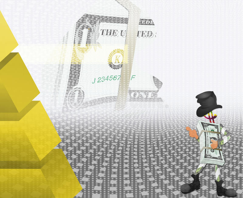 Dollar and the black cylinder royalty free illustration