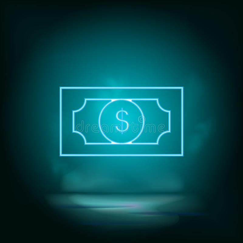 Dollar blue neon vector icon. Simple element illustration from map and navigation concept. Dollar blue neon vector icon. Real stock illustration