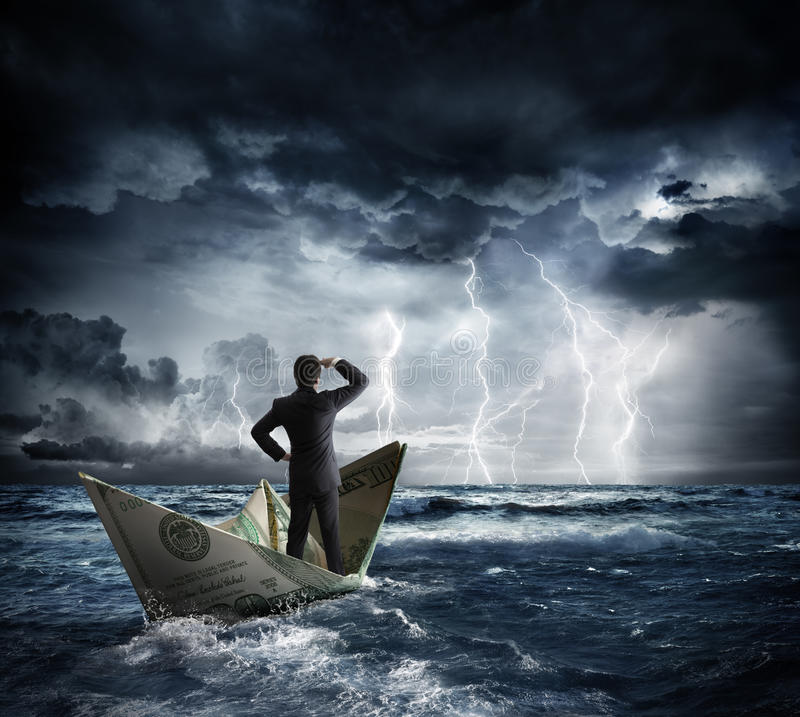 Dollar boat in the bad weather stock image