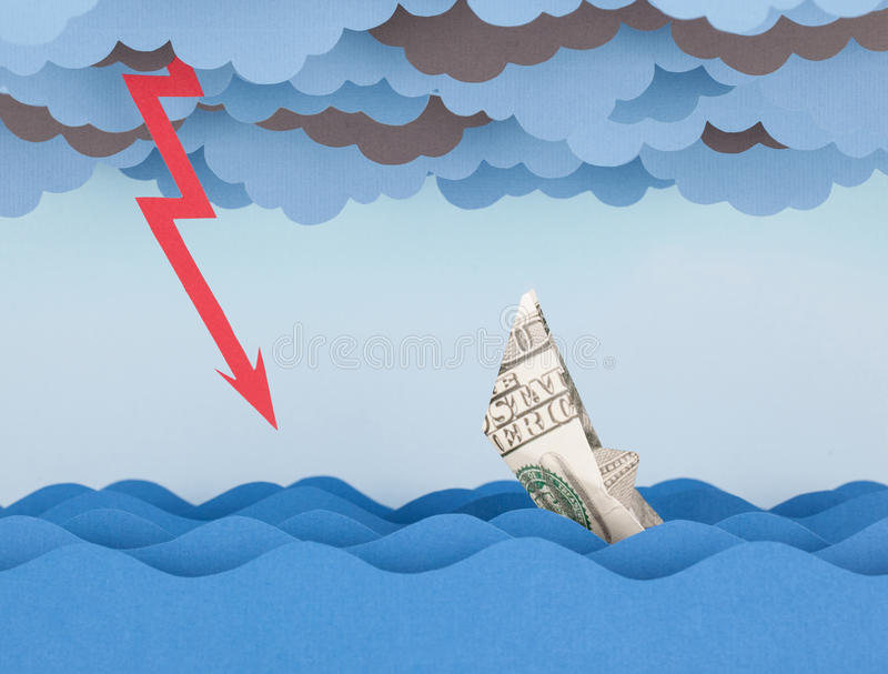 Dollar boat is sinking into paper sea. royalty free stock images