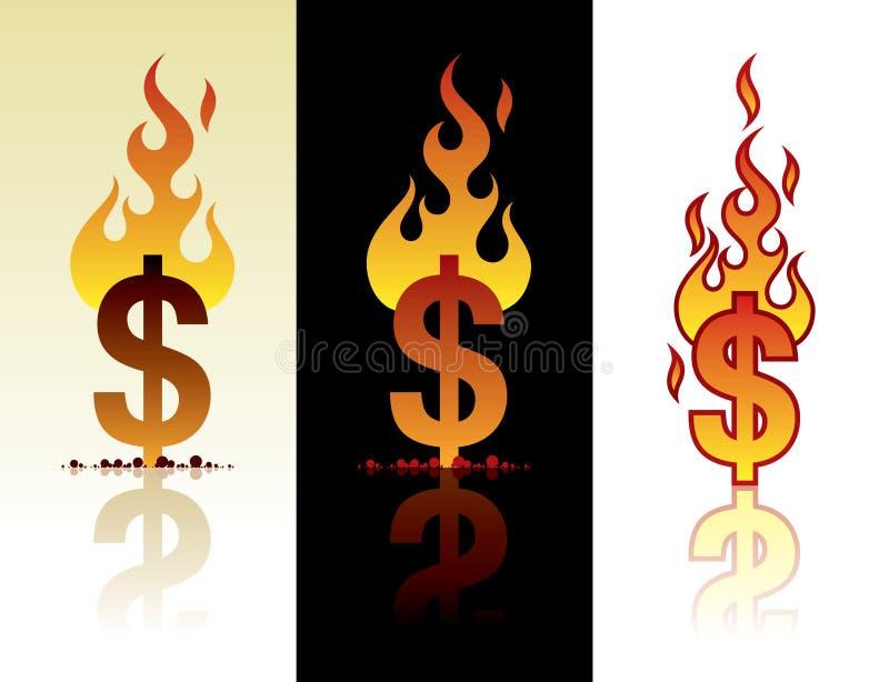 Dollar brûlant illustration de vecteur
