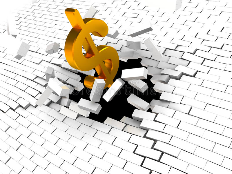 Dollar breaking wall. Abstract 3d illustration of dollar sign breaking wall stock illustration