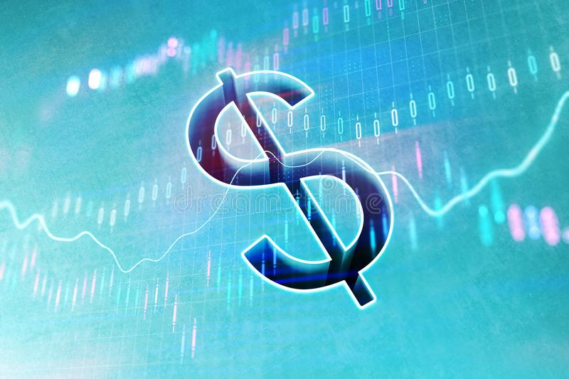 Dollar and business chart. Dollar sign at abstract financial chart background. 3D rendering royalty free illustration