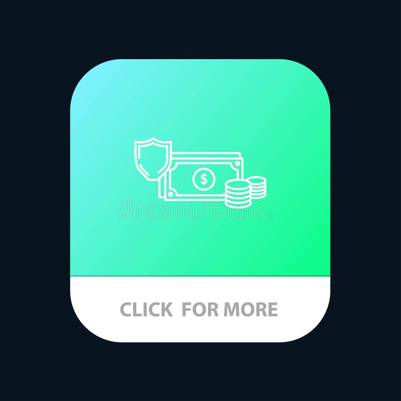 Dollar, Business, Coins, Finance, Gold, Money, Payment Mobile App Button. Android and IOS Line Version royalty free illustration