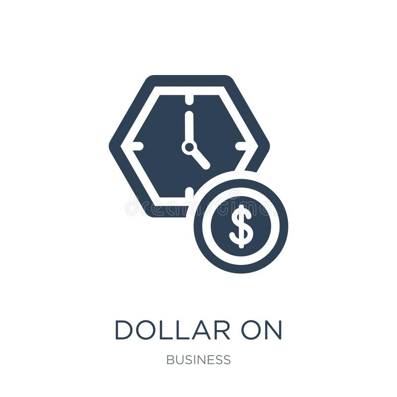dollar on business time icon in trendy design style. dollar on business time icon isolated on white background. dollar on business vector illustration