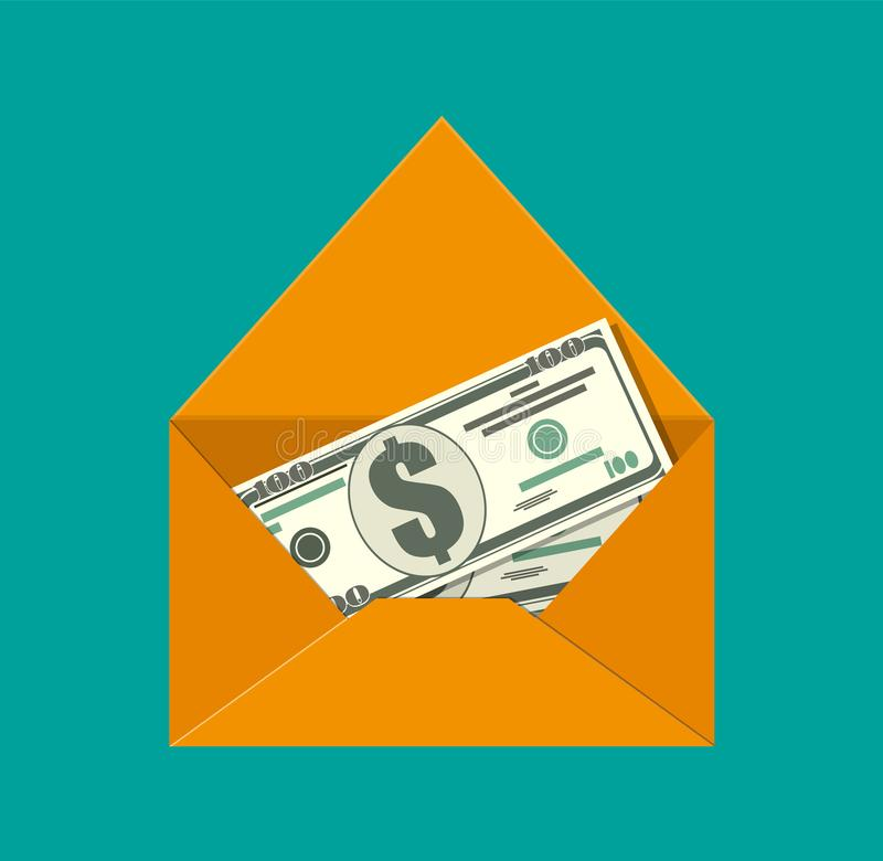 Dollar cash in envelope. vector illustration