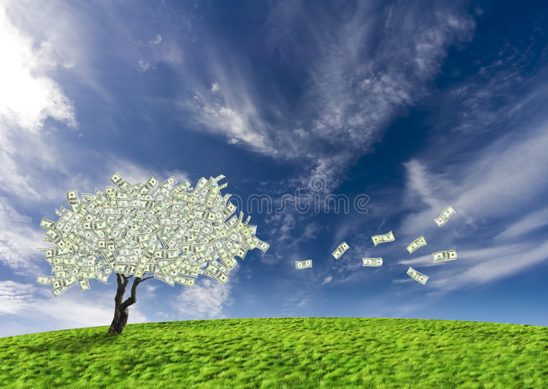 Dollar cash tree. Concept of a cash tree of American dollar banknotes with leaves falling of detoning banking and savings