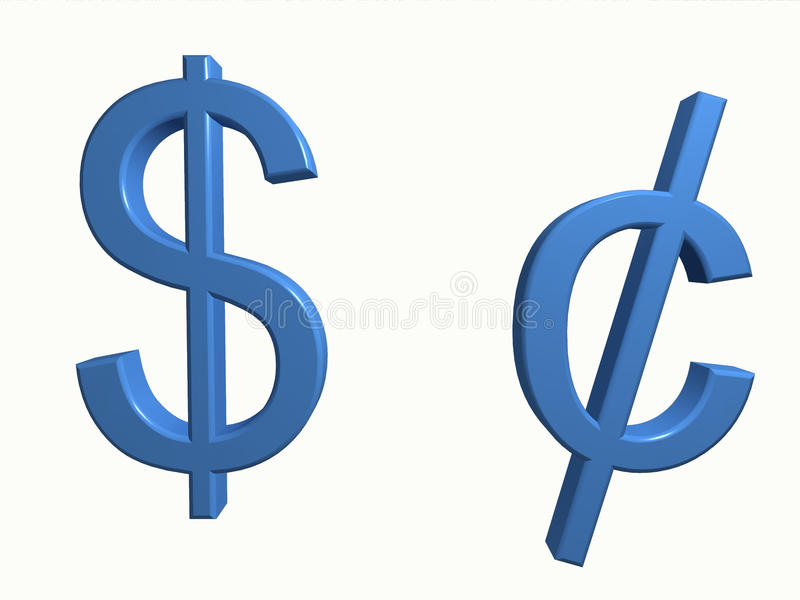 Dollar and cent. 3D symbols for dollar and cent isolated on white. Computer render royalty free illustration