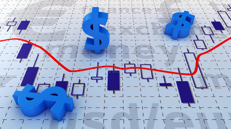 Dollar chart. Blue symbols of dollar currency lying on trading chart royalty free illustration