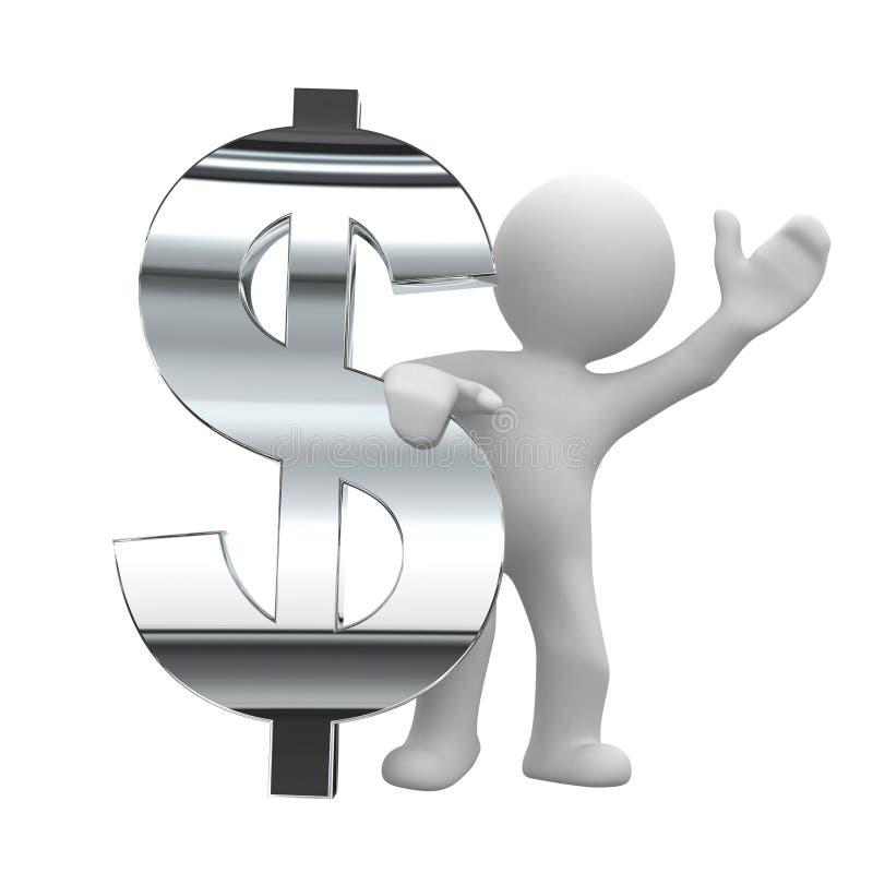 Dollar chrome symbol. 3d little human keep a chrom dollar symbol