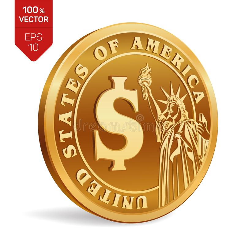 Dollar coin. 3D isometric Physical golden coin with Dollar symbol and with the image of the Statue of Liberty isolated on white ba vector illustration