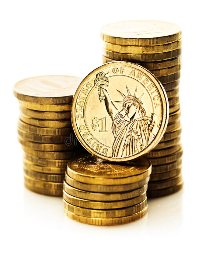 Dollar coin and gold money stock images