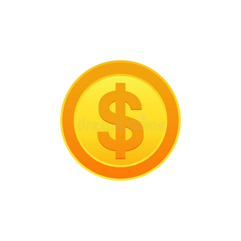 Dollar coin icon vector illustration. Symbols of currencies. Dollar coin icon. Symbols of currencies stock illustration