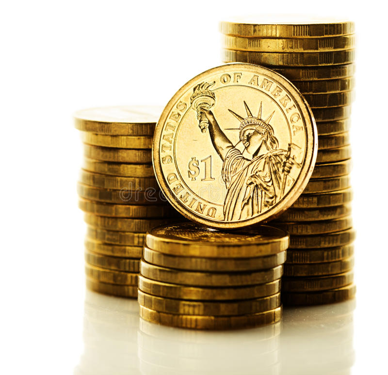 Dollar coin isolated. On white background royalty free stock images