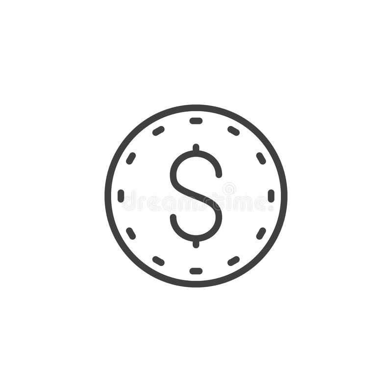 Dollar coin line icon vector illustration