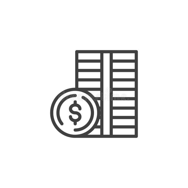 Dollar coin money line icon royalty free illustration