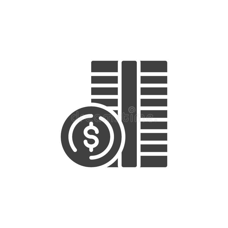 Dollar coin money vector icon stock illustration