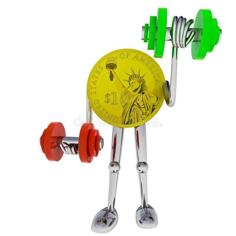 Dollar coin robot heave his dimbbell illustration. Dollar coin robot heave his dumbbel rendering illustration royalty free illustration