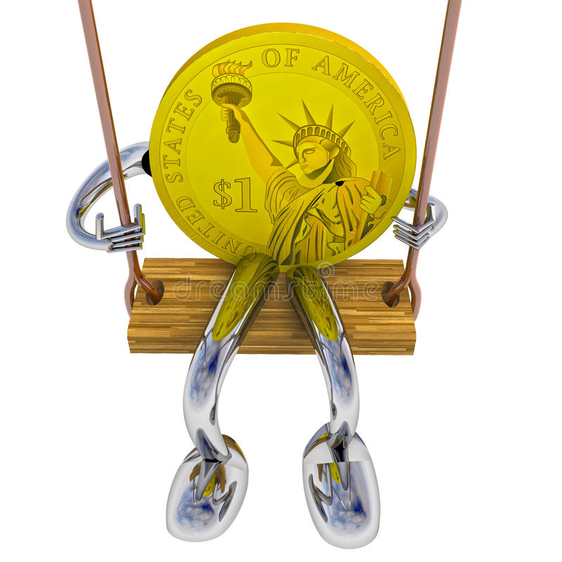 Dollar coin robot swinging on a swing front view illustration. Dollar coin robot swinging on a swing front view rendering illustration vector illustration
