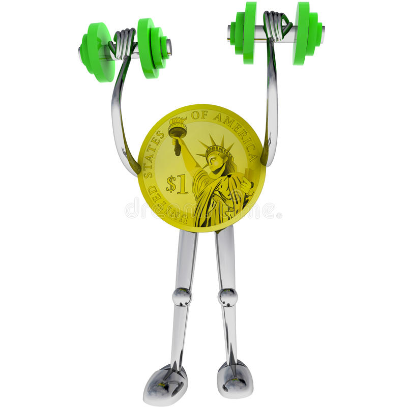 Dollar coin strong robot holding illustration. Dollar coin strong robot holding dumbbell rendering illustration stock illustration