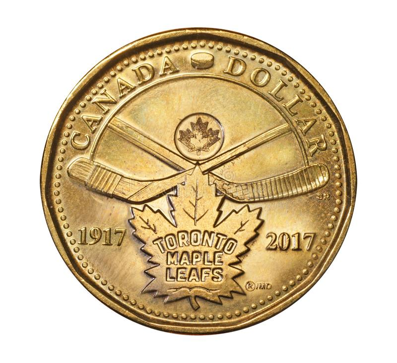Dollar coin to commemorate the 100th anniversary of the Toronto Maple Leafs hockey team stock photography