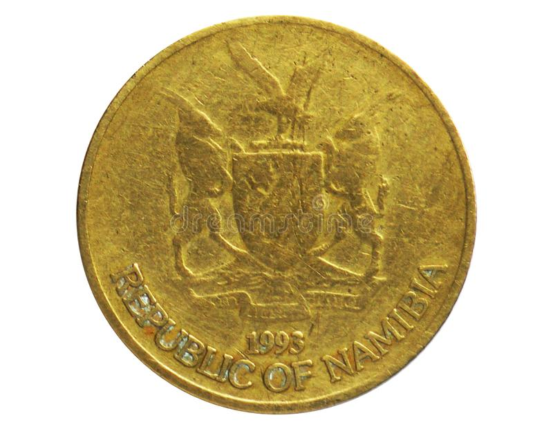 1 Dollar coin, 1993~Today - Circulation serie, Bank of Namibia. Obverse, issued on 1993. Isolated on white royalty free stock photography