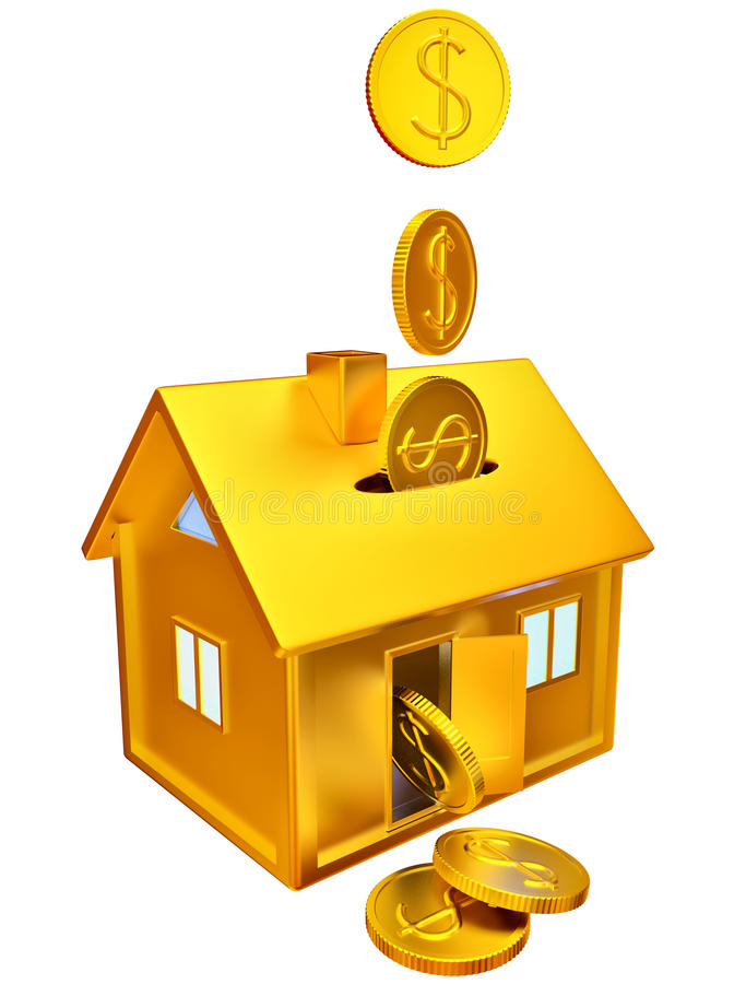 Dollar Coins Falling Down To The Money Box Stock Image