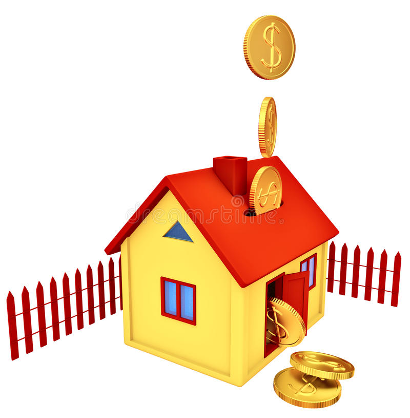 Download Dollar Coins Falling Down To The Money Box Stock Illustration - Image: 27964883