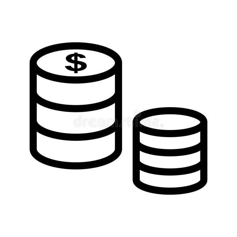 Dollar coins vector line icon vector illustration