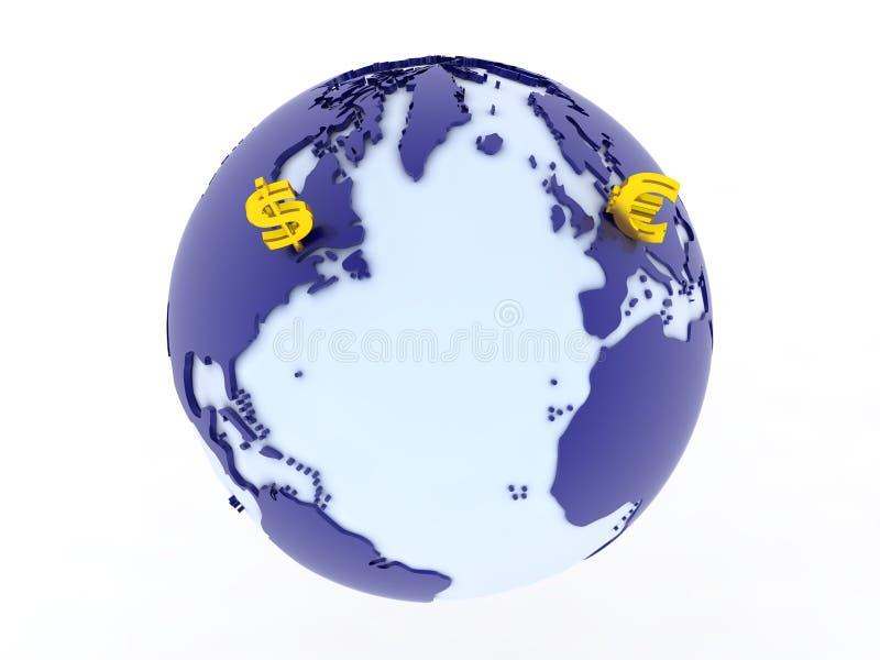 Dollar contre euro global illustration de vecteur