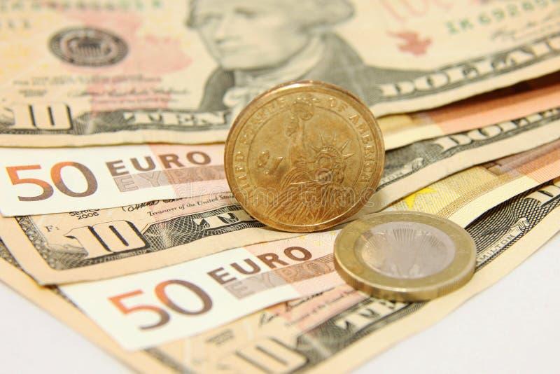 Dollar contre l'euro photo libre de droits